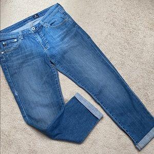 "AG 25"" capri length jeans w sewn cuff 5 pocket"